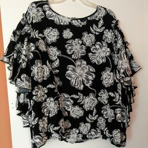 Who What Wesr 4x Tiered Ruffle Sleeve Top